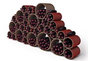 design wijnrek modulaire kartonbuizen esigo